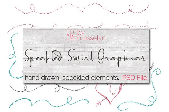Speckled Flourish Swirl Designs PSD