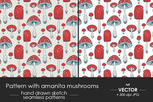Pattern with amanita mushrooms