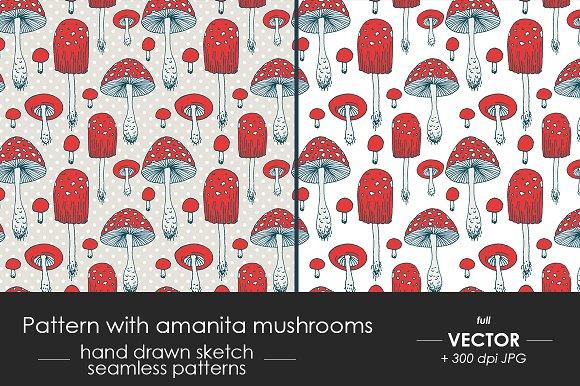 Pattern With Amanita Mushrooms