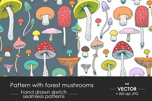 Forest mushrooms pattern set