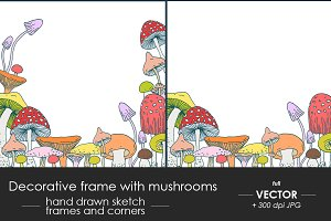 Decorative frames with mushrooms