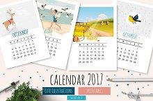 Illustrated Calendar 2017 | Vector