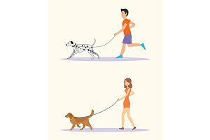 Walking the dogs of different breeds