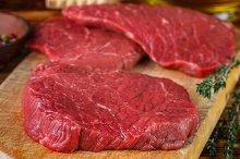 Raw beef chops