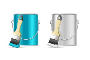 Steel Can Bucket and Paint Brush.