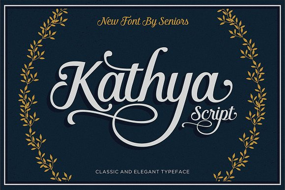 Kathya script script fonts creative market for Classic house number fonts