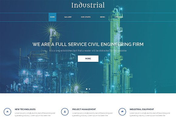 Industrial Responsive One Page Theme in HTML/CSS Themes