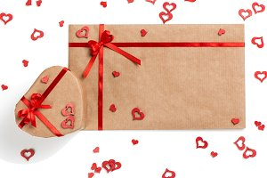Letter, gift, hearts for Valentine