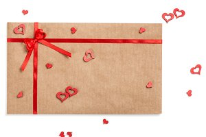 Envelope with ribbon for Valentines