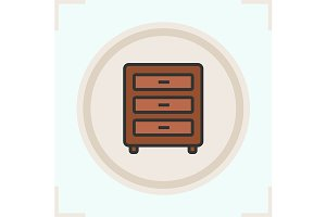 Chest of drawers icon. Vector
