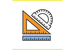 School rulers icon. Vector