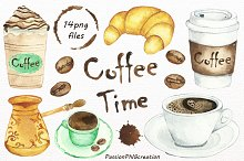 Watercolor Coffee Time Clipart