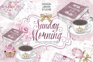 Watercolor Sunday Morning design