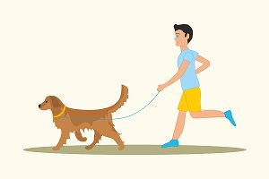 Men walking the dog golden retriever