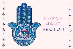 Folk Inspired Hamsa Hand Vector
