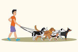 Man walking many dogs