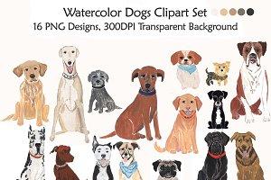 Dogs Clipart, Handmade Illustration