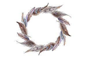 Watercolor feather wreath vector