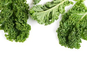Leaves of curly kale, above view.