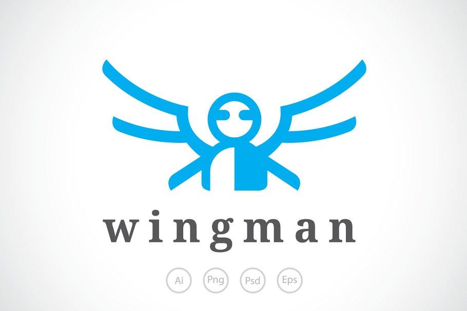 63cdd16e664 Wing Man Logo Template ~ Logo Templates ~ Creative Market