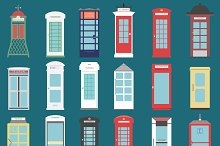 Set of 18 different telephone boxes