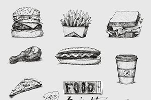 Fast food hand drawn vector