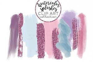 Paint Stroke Glitter Clip Art Set