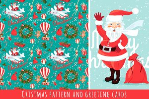 Cristmas pattern and greeting cards