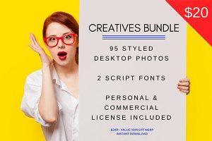 95 Images + 2 Fonts Creatives Bundle