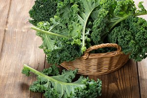 Big basket with kale.
