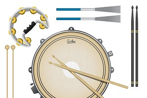 Drum music instruments set