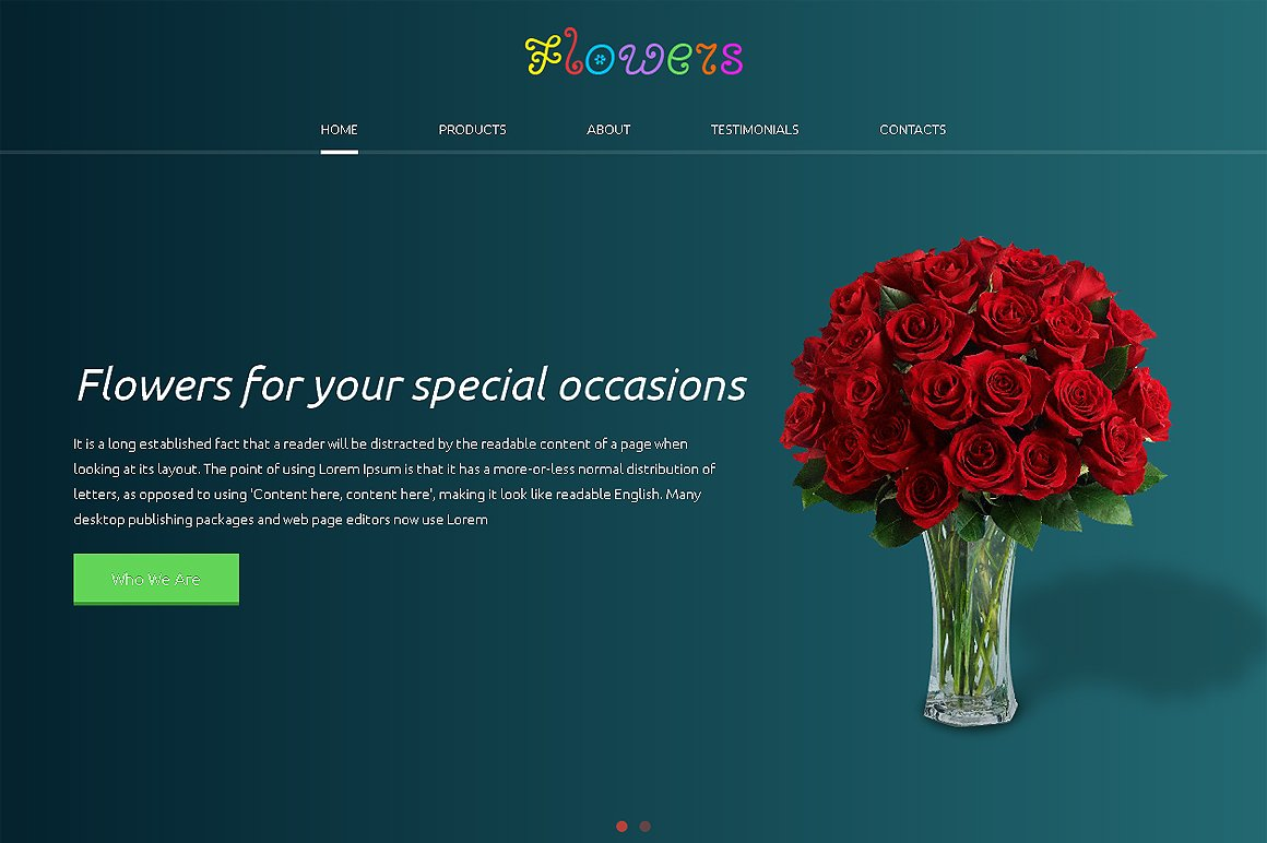 Flowers Responsive One Page Theme Htmlcss Themes Creative Market