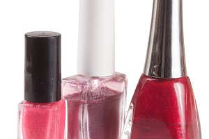 three nail polish bottle on white background