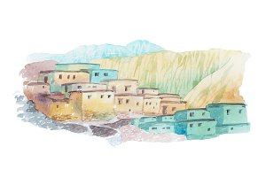 Desert country houses middle east watercolor illustration