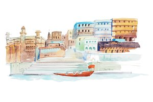 Houses on coastline of the river watercolor illustration.