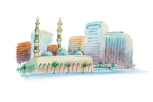 Aquarelle cityscape with mosque watercolor illustration