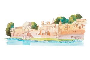 Ancient houses on coastline of the river watercolor illustration.