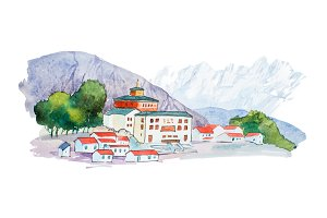 Small european village in mountains watercolor illustration.