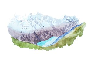 Mountains lake snow coverd peaks watercolour illustration.