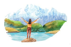 Woman looking at natural landscape in the Alps with lake and mountain tops watercolor illustration.