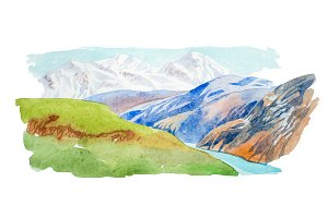 Natural summer landscape mountains and meadow watercolor illustration.