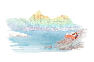Natural landscape mountains and river watercolor illustration