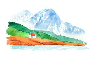 Natural landscape mountains and house watercolor illustration.