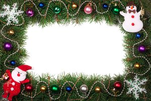 Christmas frame made of fir branches decorated with Santa Claus and balls isolated on white background