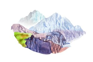 Rocky mountain scenery natural landscape watercolor illustration