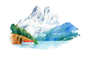 Natural landscape mountains and river watercolor illustration.