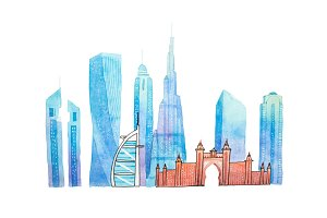 Famous Dubai landmarks travel and tourism waercolor illustration