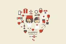retro valentine icon