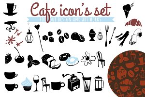 Cafe icon's set plus three patterns