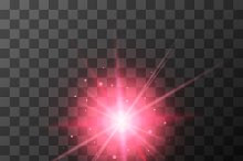 Star burst with red sparkles